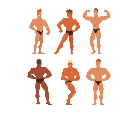 male model torso: Set of muscular, bearded mans bodybuilders vector illustration. Fitness models bodybuilders, posing, bodybuilding style man. Isolated mens physics muscle sport healthy bodybuilders. Illustration