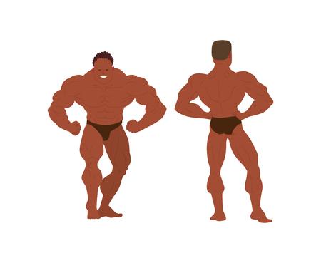 male model torso: Muscular, bearded man bodybuilder vector illustration. Fitness model bodybuilder, posing, bodybuilding style man. Isolated mens physics muscle sport healthy body. Gym fitness bodybuilder man