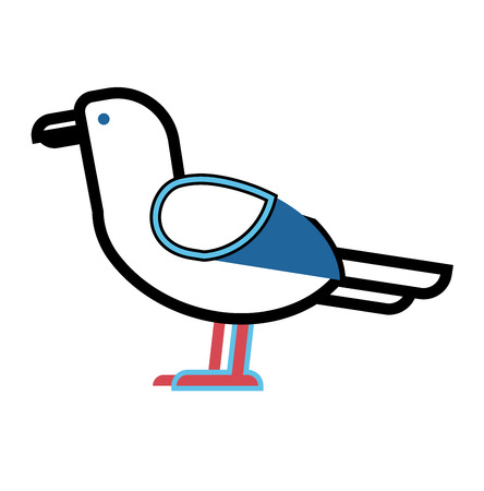 seabird: Gull flight bird and seabird gull. Natural larus gull free bird, wildlife seabird cartoon looking. Great gull larus sea wildlife animal Illustration
