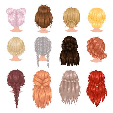 Vector design of beautiful collection of female hairstyle. Portrait beautiful woman hairstyle straight smooth brown hair. Styling brunette woman hairstyle fashion wellness pretty profile. 일러스트