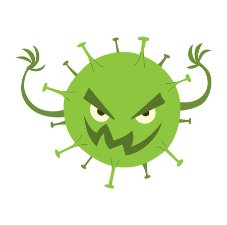 viruses: Cartoon viruses characters vector illustration organism biology. Isolated cartoon viruses characters on white background. Funny vector graphic infection cartoon viruses characters bacteria ugly.