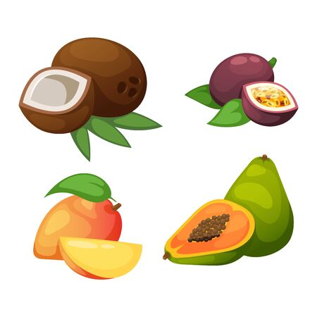 mango slice: Mix of colored tropical fruits on white background. Composition of tropical and mediterranean fruits healthy food concepts decoration. Vitamin healthy eating food tropical fruits vegetarian nutrition.