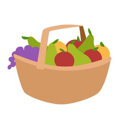 harvest basket: Rich harvest basket of vegetables vector illustration. Orange color raw fresh vegetable harvest basket tasty apple juicy fruits. Organic crop plant nature vegetable harvest basket.