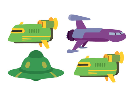 space antenna: UFO craft plane and space station silhouette vector. Unidentified antenna planet travel universe UFO spaceship. Flying technology science UFO spaceship mystery rocket, cartoon design.
