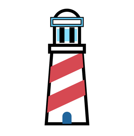 searchlight: Vector cartoon flat lighthouse icon. Searchlight tower for maritime navigation guidance. Ocean beacon light tower lighthouse. Travel lighthouse water sailing signal navigation symbol outline icon Stock Photo