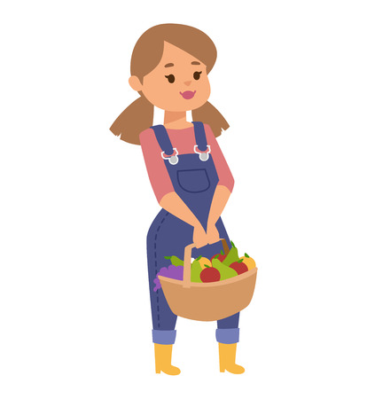 hand woven: Cheerful beautiful girl in pink shirt shirt and denim overalls. Girl hold in hand woven basket with fresh fruits apples. Girl with fruits adult character farm organic fresh vitamins nutrition. Stock Photo