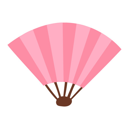 chinese fan: Pink silk chinese fan traditional asian oriental culture paper accessory vector illustration. Traditional chinese or japan fan and oriental chinese fan. Chinese paper elegance fan fashion accessory.