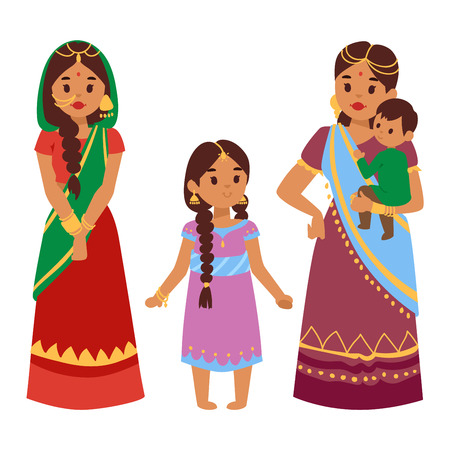 standing figure: Vector illustration of Indian culture woman people standing figure. Indian female people happy person. Ethnicity cheerful casual Indian people, traditional young and old woman, girl characters