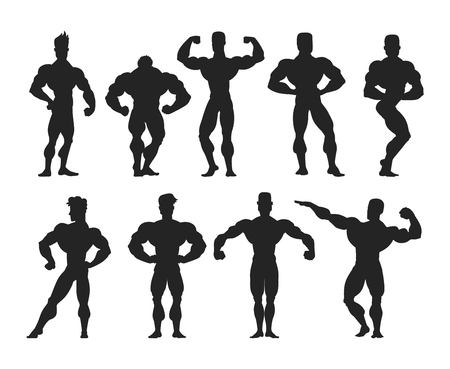 abdominal exercise: Set of muscular, bearded mans bodybuilders vector illustration. Fitness models bodybuilders, posing, bodybuilding style man. Isolated mens physics muscle sport healthy bodybuilders. Illustration