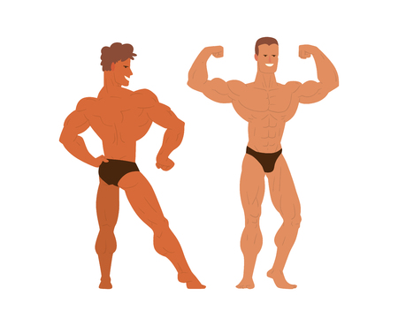 shirtless: Set of muscular, bearded mans bodybuilders vector illustration. Fitness models bodybuilders, posing, bodybuilding style man. Isolated mens physics muscle sport healthy bodybuilders. Illustration