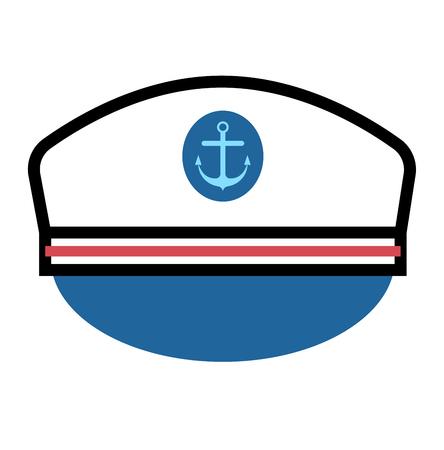 captain hat: Captain hat flat vector icon. Sailor cap vector flat icon. Flat style captain sea hat. Vector Captain vector hat anchor