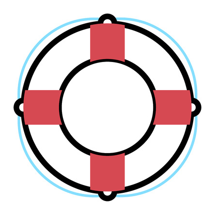 preserver: Stripped lifebuoy emergency help survival equipment protection. Lifebuoy vector icon symbol lifesaver swim. Isolated lifebuoy preserver icon object concept sign guard. Beach water ship float lifebuoy. Illustration
