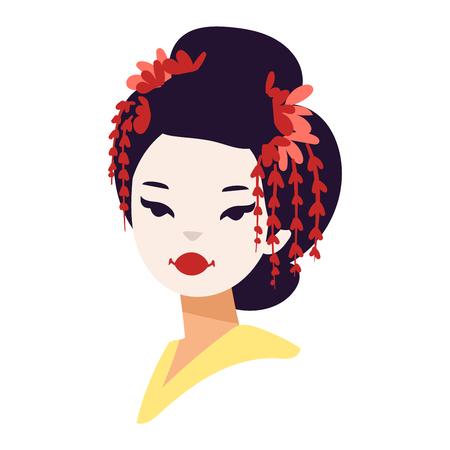 Vector kokeshi muñeca japonesa carácter cara de la muchacha de geisha. kimono colorido bastante mujer tradicional maquillaje hermoso japonés geisha chica. Arte cultura de la moda de belleza chica de geisha japonesa. Ilustración de vector