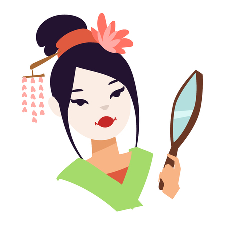 geisha kimono: Vector kokeshi doll japanese geisha girl face character. Colorful kimono pretty traditional woman beautiful makeup japanese geisha girl. Japanese geisha girl fashion culture beauty art. Illustration