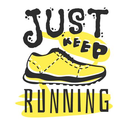 run faster: Sport fitness typographic poster run sport motivation logo badge. Run sport motivation text lettering. Motivational and inspirational illustration lettering logo design, banner, poster
