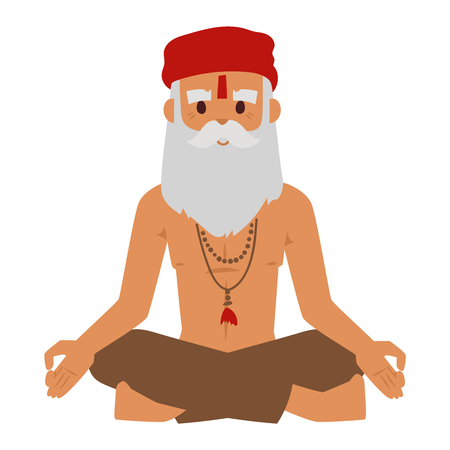indian old man: Vector illustration of Indian culture meditation old man sitting lotus yoga pose figure. Indian old man happy person. Ethnicity casual Indian grandpa relax pose traditional bollywood character.