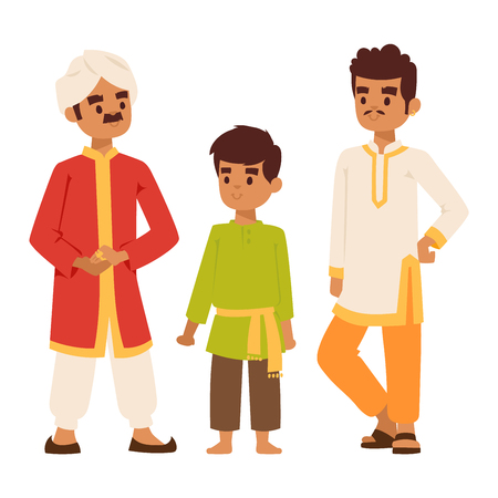 ethnicity happy: Vector illustration of Indian culture man people standing figure. Indian male people happy person. Ethnicity cheerful casual Indian people, traditional man and boy characters