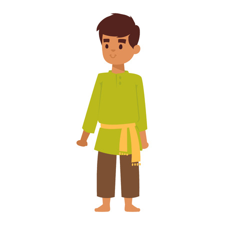 Vector illustration of Indian culture kid boy standing figure. Indian male happy person. Ethnicity cheerful casual Indian people, traditional young boy character