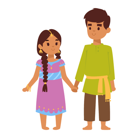 ethnicity happy: Vector illustration of Indian culture young kids standing figure. Indian people children happy person. Ethnicity cheerful casual Indian people, traditional boy and girl character. Illustration