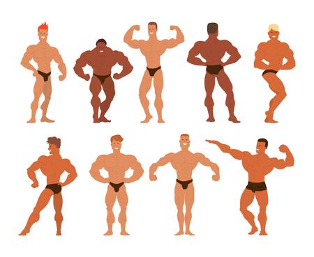 Conjunto de la ilustración muscular, con barba sirve culturistas vectorial. Modelos de la aptitud culturistas, posando, hombre estilo de culturismo. deporte para hombre del músculo aislado física culturistas sanos.