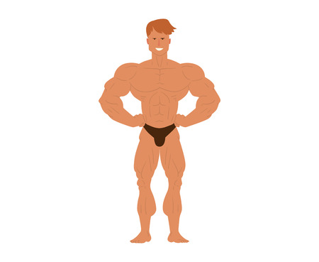 muscular body: Muscular, bearded man bodybuilder vector illustration. Fitness model bodybuilder, posing, bodybuilding style man. Isolated mens physics muscle sport healthy body. Gym fitness bodybuilder man