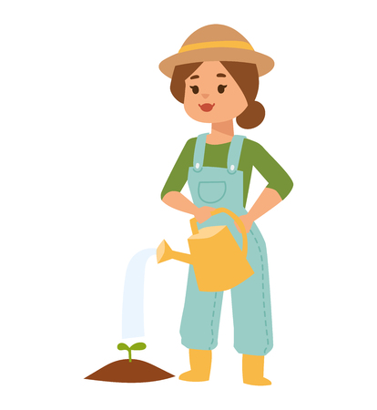 woman gardening: Beautiful happy woman holding watering can isolated on white. Vector character woman with watering can gardening concept. Woman with watering can nature happy lifestyle cheerful girl outdoor.