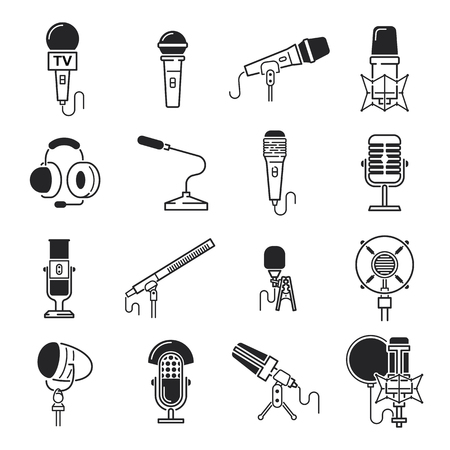 vocal: Vector black microphone icons set record symbol. Radio rock dynamic microphone icons technology broadcast vocal symbol speaker pictogram. Karaoke communication microphone icons audience equipment. Illustration