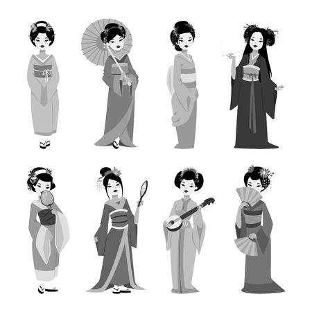 geisha kimono: Vector kokeshi doll japanese geisha girl character. Kimono pretty traditional woman beautiful makeup japanese geisha girl. Japanese geisha girl fashion culture beauty art. Illustration