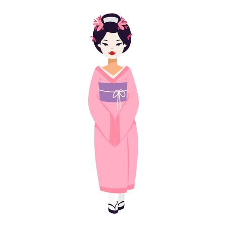 Vector conjunto de muñecas del kokeshi geishas japonesas. kimono colorido mujer bastante tradicional hermoso maquillaje geisha japonés. cultura de la moda arte belleza geisha japonesa.