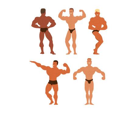 Set of muscular, bearded mans bodybuilders vector illustration. Fitness models bodybuilders, posing, bodybuilding style man. Isolated mens physics muscle sport healthy bodybuilders. Illustration