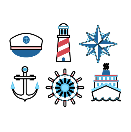 Set of marine sea icons and nautical decorations isolated. Collection of marine sea icons elements company logos, business identity vector illustration. Marine sea icons ocean anchor travel symbol.