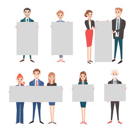 Un groupe de gens d'affaires présentant bannière vecteur vide. Isolé sur blanc les gens d'affaires détiennent la bannière féminine debout. Les gens d'affaires équipe de maintien de présentation affiche publicitaire de la bannière à la main.