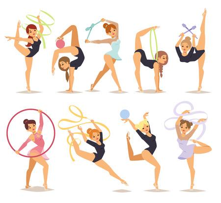Set kleur meisje cijfers uitvoeren gymnastische oefeningen met foelie hoepel en tapes geïsoleerd vector illustratie. Gymnast meisje artistieke en ritmische gymnastiek oefening. Gymnast meisje jonge oefening fitness. Vector Illustratie