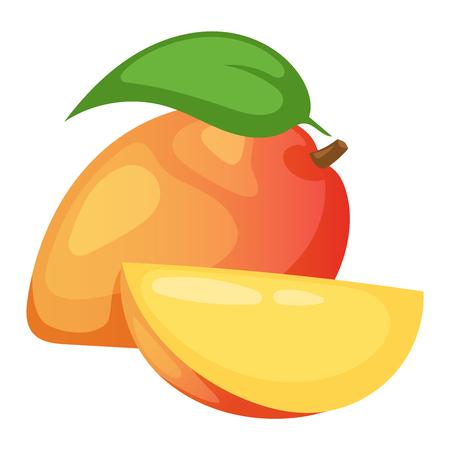 mango slice: Slices of mango fruit and leaves over white. Sweet fresh juicy yellow mango fruit tropical food. Nutrition delicious mango fruit ingredient dessert healthy slice. Freshness organic tropical food.