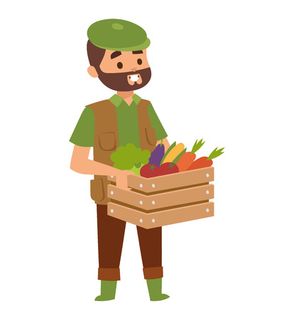 food industry: Harvest country farmer and organic healthy natural. Standing worker farmer business agricultural natural industry. Funny farmer with mustache character in straw hat farming food person vector.