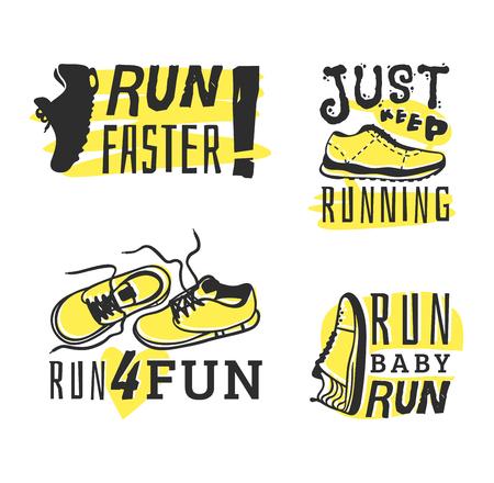 endurance run: Sport fitness typographic poster run sport motivation logo badge. Run sport motivation text lettering. Motivational and inspirational illustration lettering logo design, banner, poster