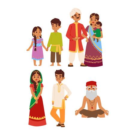 etnia: Ilustración vectorial de par indio de la cultura diferente de pie juntos. pueblo indio persona feliz hembra. Alegre gente ocasional de la India, muchacho tradicional y carácter de la muchacha.
