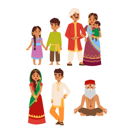 ethnicity: Vector illustration of Indian couple of different culture standing together. Indian people female happy person. Ethnicity cheerful casual Indian people, traditional boy and girl character.