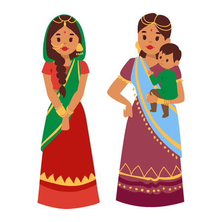 ethnicity happy: Vector illustration of Indian culture woman people standing figure. Indian female people happy person. Ethnicity cheerful casual Indian people, traditional young and old woman, girl characters