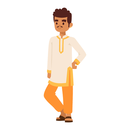 young culture: Vector illustration of Indian culture woman standing figure. Indian female happy person. Ethnicity cheerful casual Indian people, traditional young woman, girl character Illustration