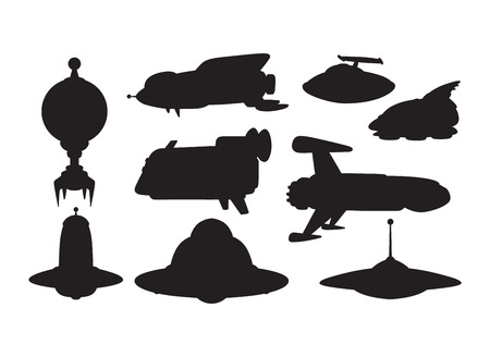 mystery: Big collection of UFO crafts and space stations silhouette vector. Unidentified antenna planet travel universe UFO spaceship. Flying technology science UFO spaceship mystery rocket, cartoon design.