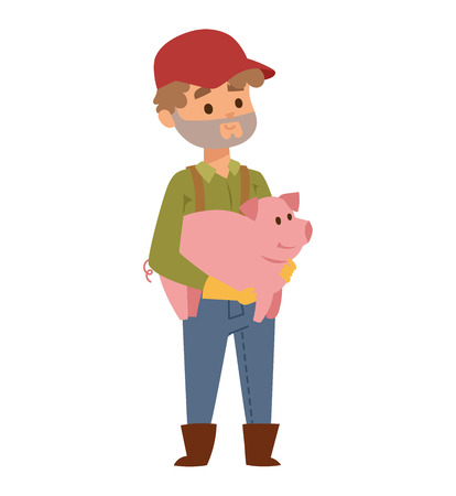Farmer holding on hands young piglet of pietrain breed. Young farmer holding cute piglet on his shoulder. Young funny snout breeding farmer and agriculture piglet domestic pig vector character.