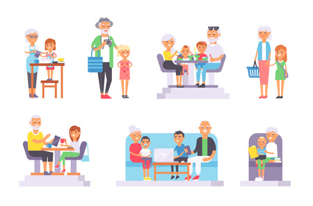 old people: All age group of european young and oldpeople. Generations man and woman old and young people . Stages of development people - infancy, childhood, youth, old age. Old and young people set.
