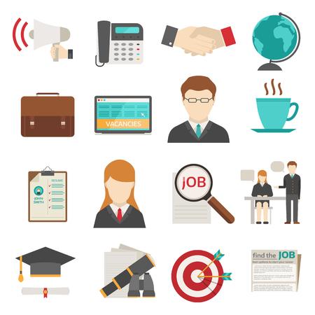 Vector recherche d'emploi icon set concept de bureau d'ordinateur. l'emploi de recrutement humain gestionnaire de réunion de l'équipe d'icônes de recherche d'emploi de travail. Job icônes de recherche entretien des ressources des employés stratégie de carrière défini. Vecteurs