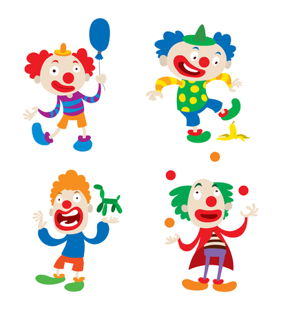 clown nose: Set of clown character performing different fun activities vector cartoon illustrations. Clown character funny happy costume cartoon joker. Fun makeup and carnival smile hat nose clown character.