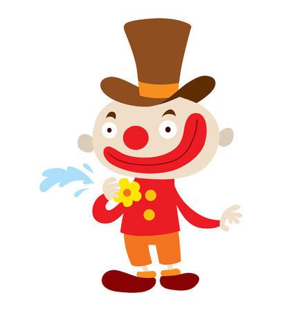 red nose: Clown character performing different fun activities vector cartoon illustrations. Clown character funny happy costume cartoon joker. Fun makeup and carnival smile hat nose clown character circus