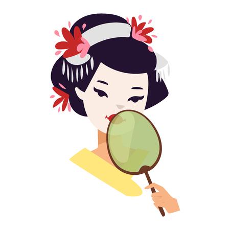 exotic woman: Vector kokeshi doll japanese geisha girl face character. Colorful kimono pretty traditional woman beautiful makeup japanese geisha girl. Japanese geisha girl fashion culture beauty art. Illustration