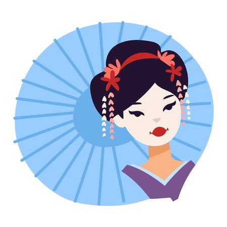 geisha kimono: Vector set of kokeshi dolls japanese geisha girls. Colorful kimono pretty traditional woman beautiful makeup japanese geisha girls. Japanese geisha girls fashion culture beauty art. Illustration
