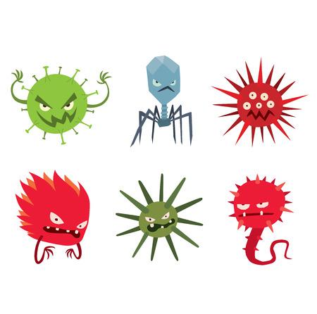 Cartoon-Viren Zeichen Vektor-Illustration Organismus Biologie. Isolierte Cartoon-Viren-Zeichen auf weißem Hintergrund. Lustige Vektor-Grafik-Infektion Cartoon-Viren Zeichen Bakterien hässlich.