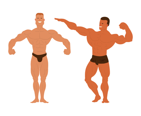 abdominal muscle exercises: Muscular, bearded man bodybuilder vector illustration. Fitness model bodybuilder, posing, bodybuilding style man. Isolated mens physics muscle sport healthy body. Gym fitness bodybuilder man